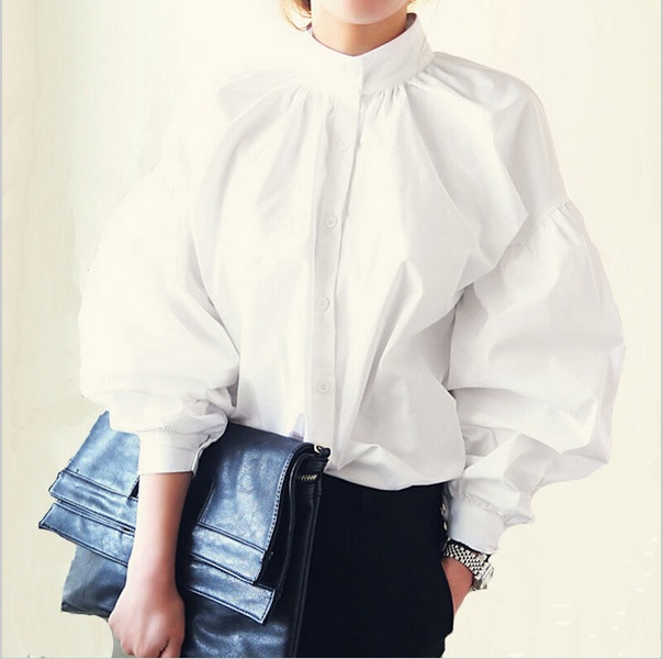 womens high collar blouses white long sleeve blouse cotton big size puff  sleeve ladies satin blouse