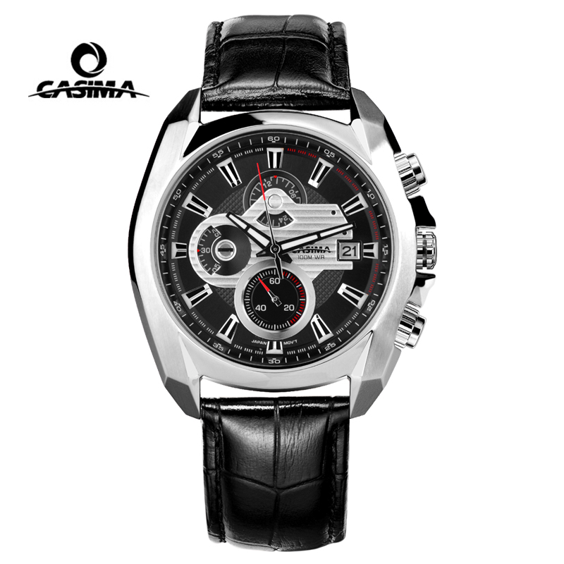 Luxury Casima ผู้ชายทหารกีฬา Luminous Chronograph นาฬิกาข้อมือหนัง Quartz นาฬิกา Relogio Masculino-ใน นาฬิกาควอตซ์ จาก นาฬิกาข้อมือ บน   1
