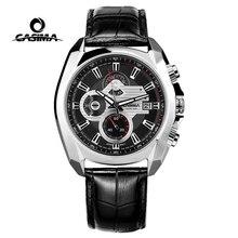 Reloj Hombre Casima marka lüks İzle erkekler aydınlık Chronograph deri askeri spor kuvars saatler saat Relogio Masculino