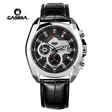 ساعة رجالية فاخرة من Reloj Hombre Casima ساعة رجالية كرونوغراف مضيئة جلد عسكرية رياضية كوارتز ساعة يد ساعة رجالية