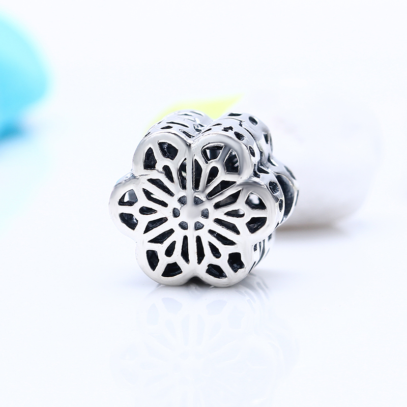 Authentic 100% 925 Sterling Silver Fit Original Pandora Bracelet Silver Bloom Flower DIY Charm Beads for Jewelry Making