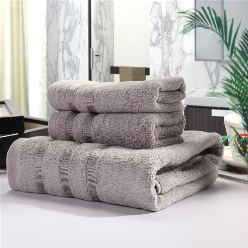 2pcs Towels Set Bamboo Fiber Face Hand Towel Bathroom Home Gifts