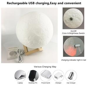 Image 3 - Светодиодный светильник с 3D принтом в виде Луны, перезаряжаемый с помощью USB, сенсорный выключатель, ночник, украшение для спальни, подарок на день рождения