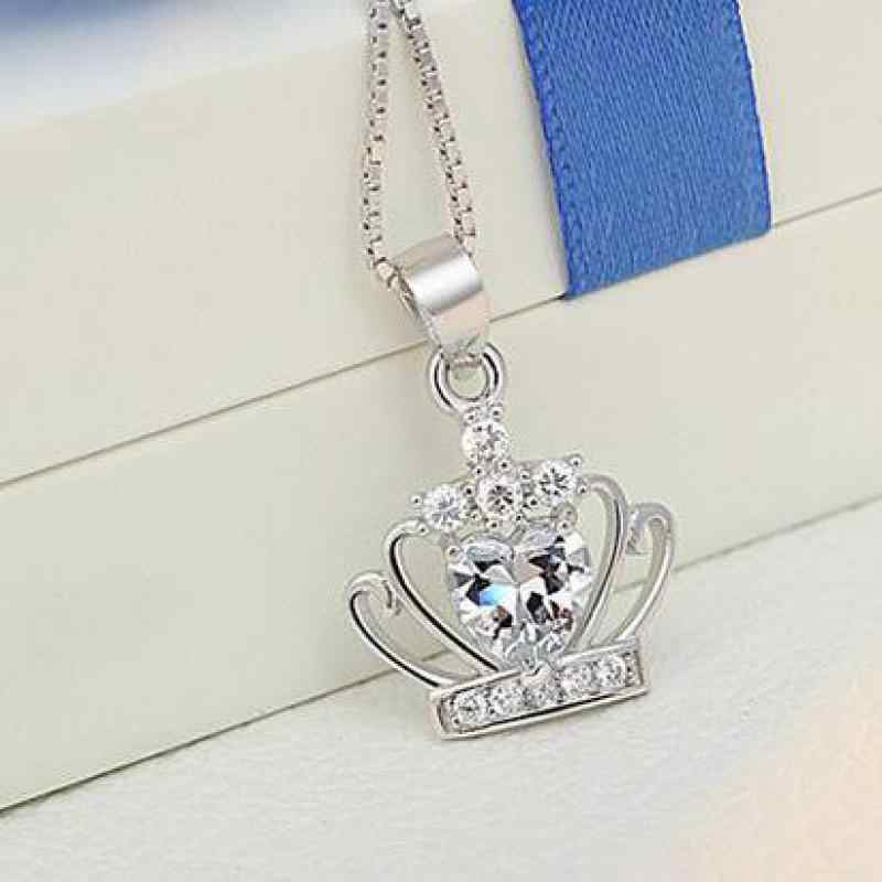 Crown Pendant Necklace For Women Crystal Queen Princess Necklaces & Pendants 925 Sterling Silver color pendant without chain