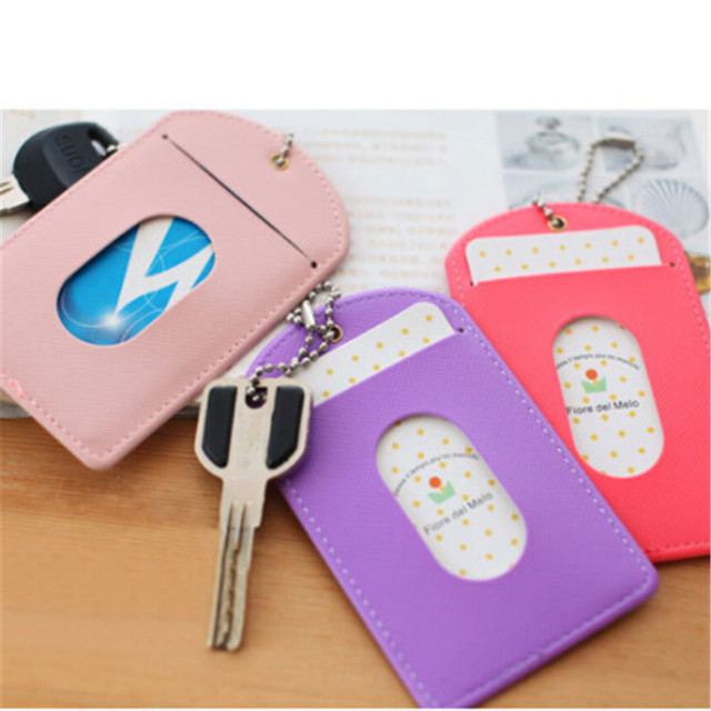 1 PC Credit Card Wallet Pu Leather Waterproof ID Cards Passport Business Bank Card Holder Key Buckle Cards Case
