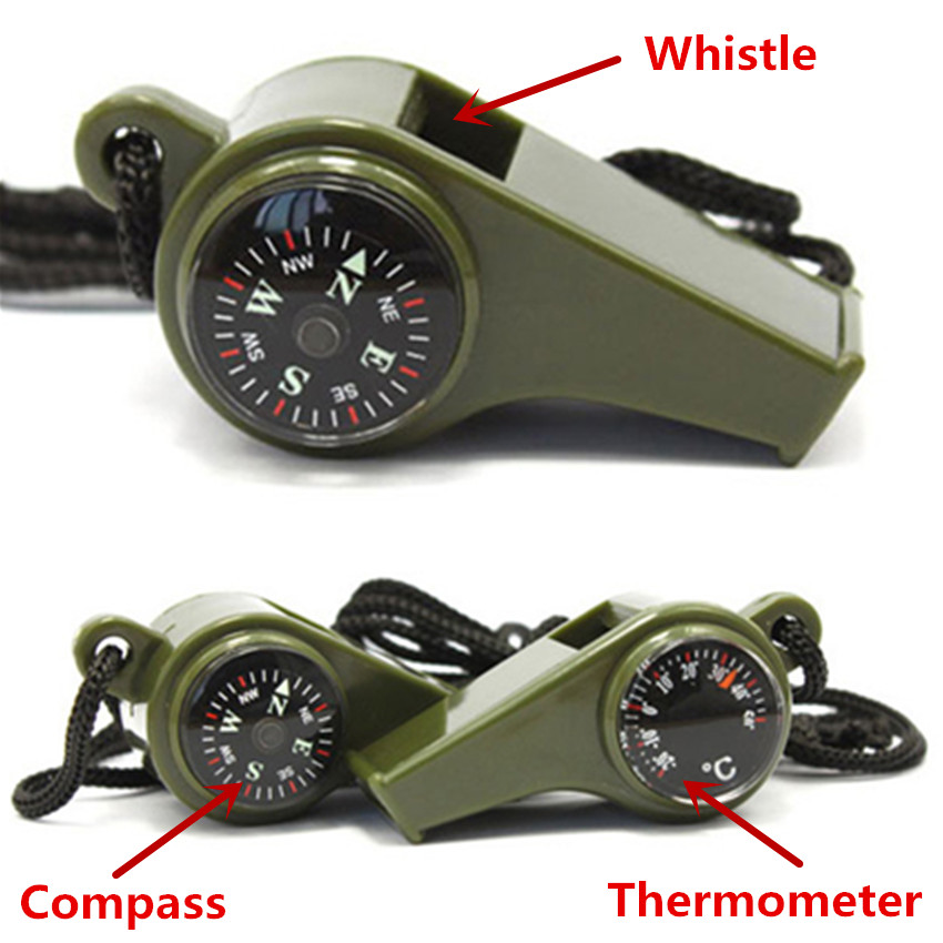 3 in 1 Emergency Whistle Contain Compass Temperature Display and Whistle