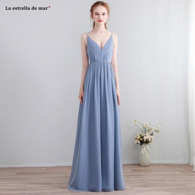 b1a0b044537c9 Vestido madrinha new lace chiffon spaghetti straps ruffled boho style grey  blue bridesmaid dresses long plus