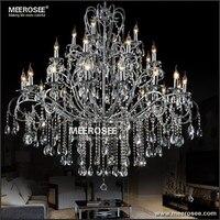 Large 28 Arms Wrought Iron Chandelier Crystal Light Fixture Chrome Lustre De Sala Crystal Hanging Lamp