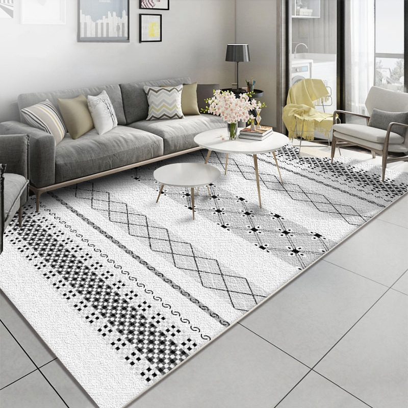 Nordic Simple Geometric Pattern Rugs Carpets For Living Room Bedroom Area Rugs Gray White Sofa Table Chair Anti-Slip Floor Mats