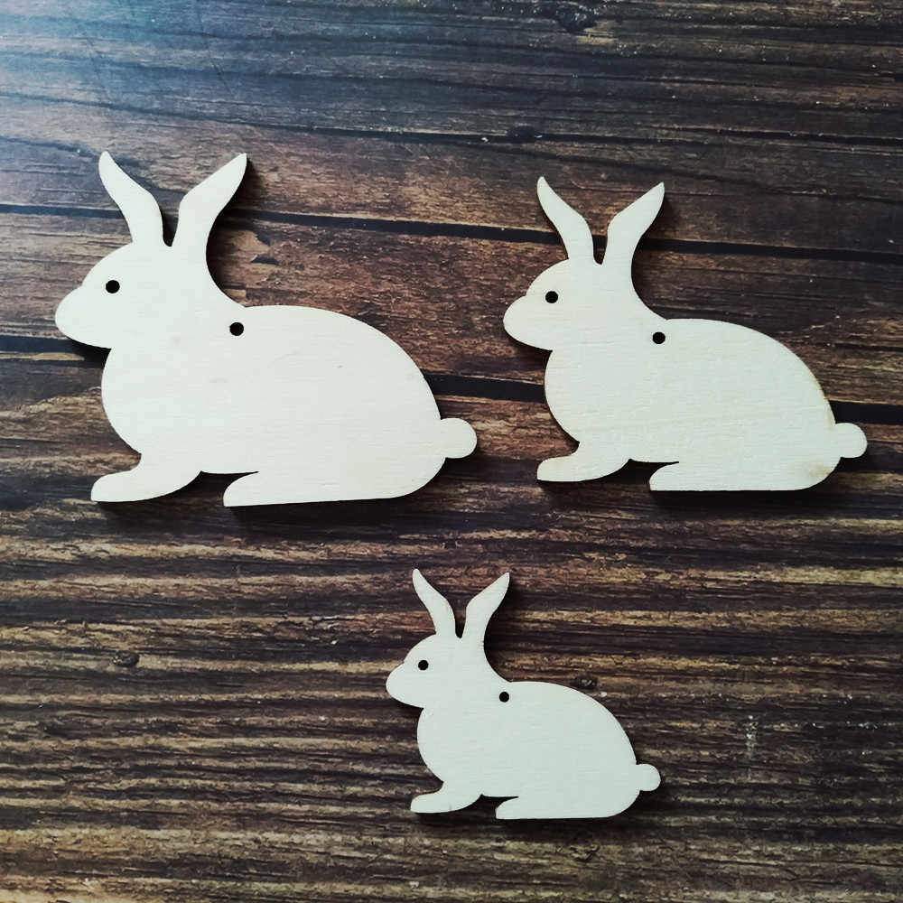 10pcslot Wooden Bunny Laser Cut Wood Cutout Plywood Figure Wood Rabbit Different Size Ornaments Diy Craft Easter Decoration