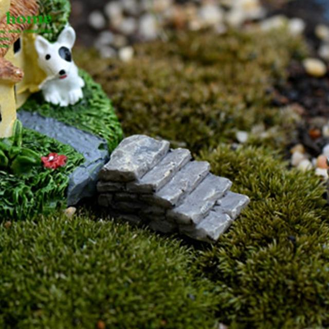 Mini sevimli reçine el sanatları peri bahçe basamak taşları merdiven minyatür peyzaj dekorasyon