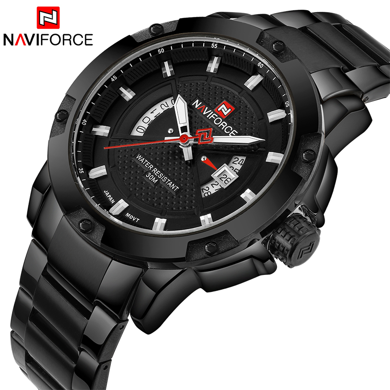 NAVIFORCE Top Luxury Brand Men Sports Watch Male Casual Full steel Date Wristwatches Men's Quartz watches relogio masculino
