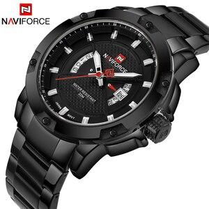 Image 1 - NAVIFORCE Top marque de luxe hommes montre de sport décontracté en acier pleine Date montres à Quartz hommes montres relogio masculino