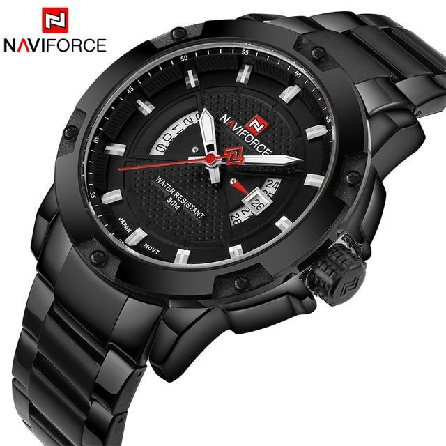 NAVIFORCE Top marque de luxe hommes montre de sport décontracté en acier pleine Date montres à Quartz hommes montres relogio masculino