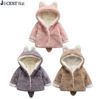JOCESTYLE Baby Girls Winter Coats Cute Bunny Fleece Coat Fake Fur Warm Hooded Jacket Outwear Baby