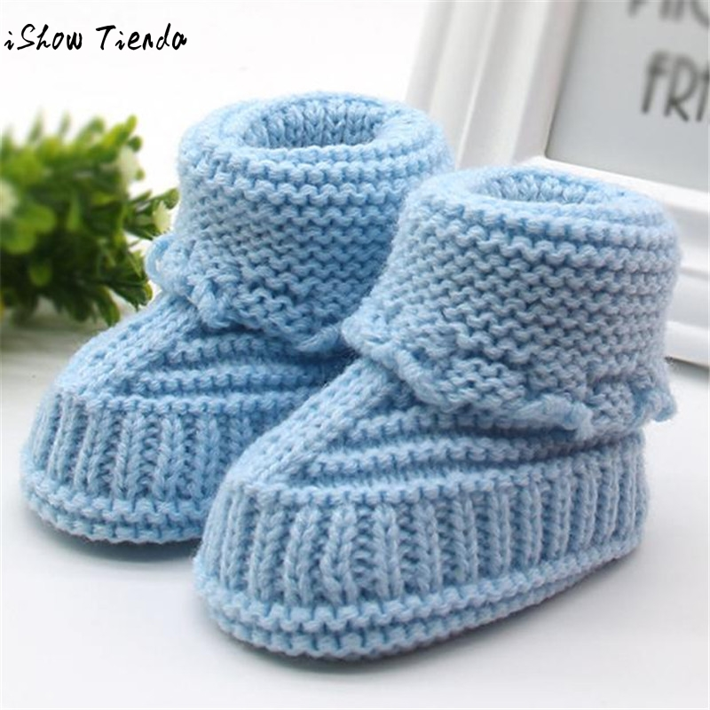 Cute Lace Baby Shoes Toddler Shoes Solid Knitting Lace-Up Crochet Buckle Handcraft Baby Girl Shoes Newborn First Walkers