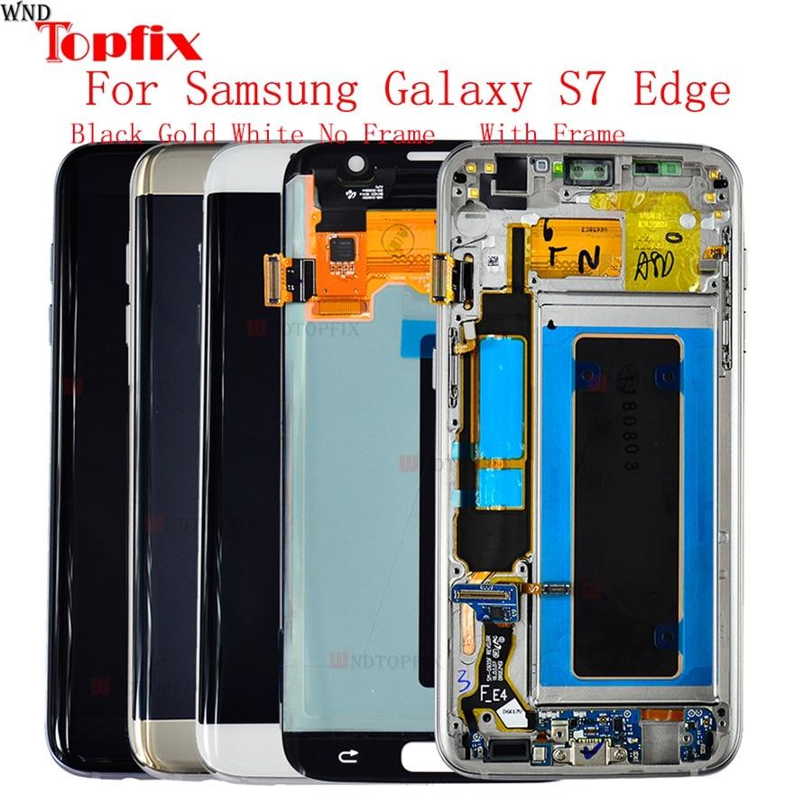 5.5 ''Super AMOLED LCD De Remplacement Pour Samsung Galaxy S7 bord LCD AVEC CADRE G935 G935F LCD Affichage Écran Digitizer l'assemblée