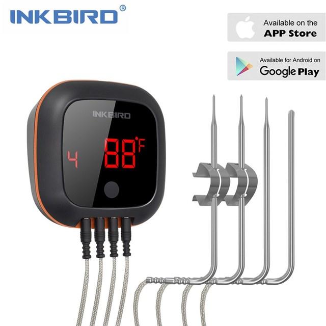 Inkbird Four numérique sans fil Bluetooth, thermomètre de cuisson pour BBQ, gril, thermomètre avec deux/quatre sondes et batterie rechargeable USB IBT 4XS