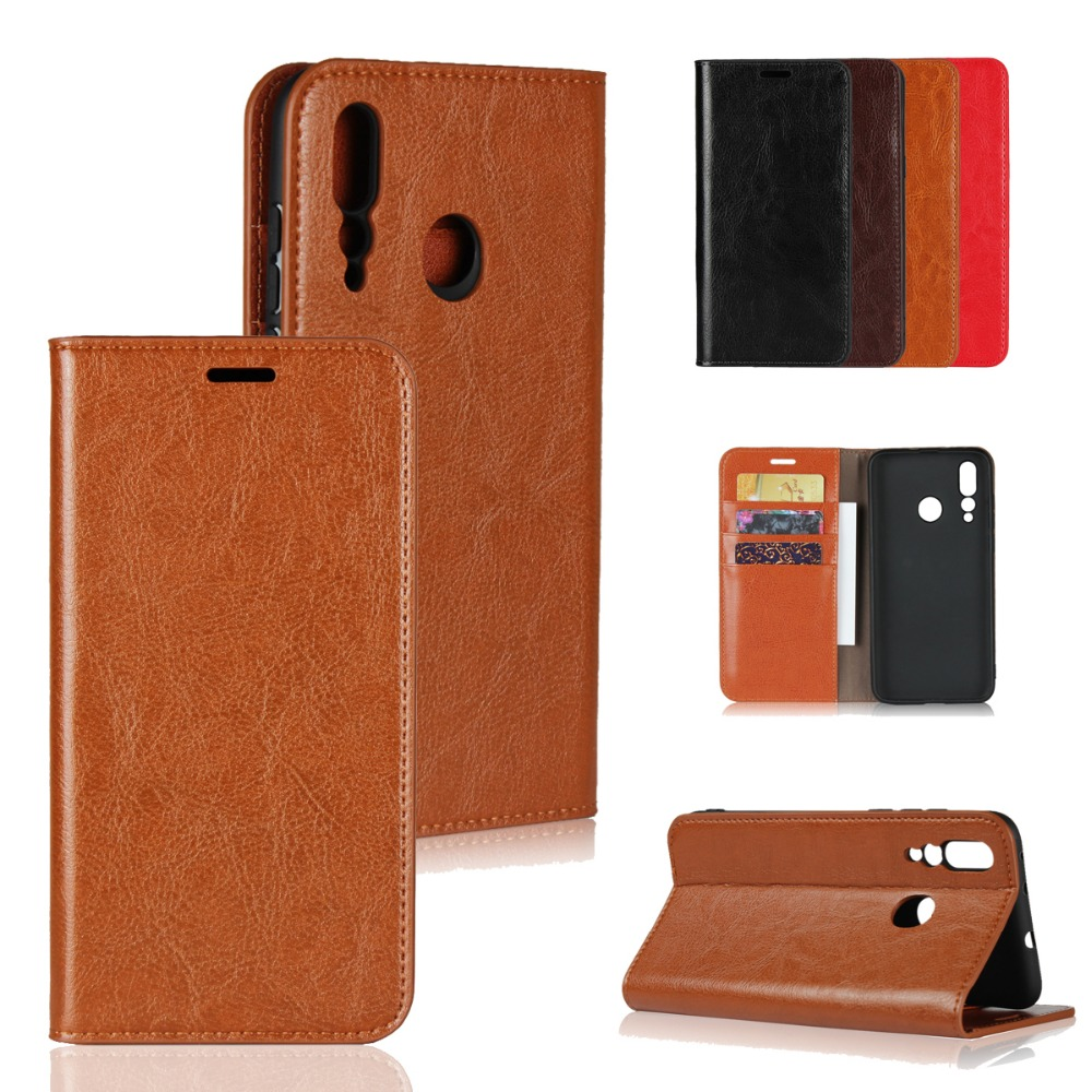 LUCKBUY for Huawei Nova 4 Case Luxury Genuine Leather Wallet Cases 3i Cover 3 2 Plus Nova4 Book skin
