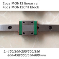 2pcs 12mm Linear Guide MGN12 150 200 250 300 350 400 450 500 550 600 mm linear rail + 4pcs MGN12H or MGN12C block 3d printer CNC