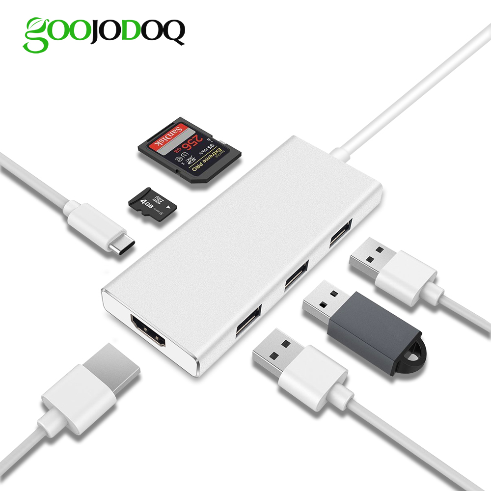 GOOJODOQ USB Type C HUB HDMI 4K Adapter for Macbook ProThunderbolt 3, 3 USB 3.0 Ports SD/TF Card Reader USB-C Power Delivery