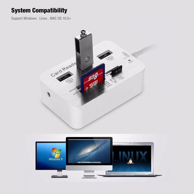 Leadzoe Multi-funciion 3-портовый USB 3.0 Концентратор с SDHC/TF/MS DUO/M2 Кард-Ридер 7 Слотов USB Combo Адаптер