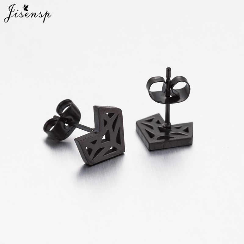 Jisensp แฟชั่น Origami Stud Earrings สำหรับผู้หญิงเครื่องประดับสแตนเลสรูปทรงเรขาคณิตสัตว์ต่างหู aretes de muje