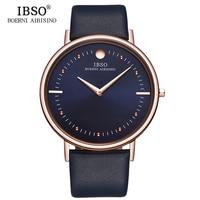 IBSO 2018 Mens Watches Relogio Masculino Top Brand 7 5MM Ultra Thin Genuine Leather Strap Quartz