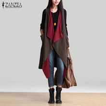 Zanzea Fashion 2016 Autumn Winter Women Casual Waterfall Sleeveless Trench Coat Pockets Lapel Loose Long Outerwear Cardigan