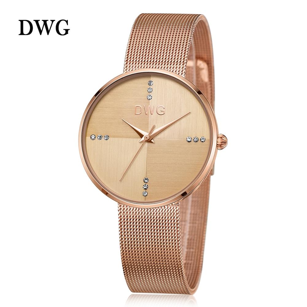 Hot DWG Watch Ladies Rose Gold Quartz Watch Wrist Watches for Women Metal Bracelet Rhinestone Dial