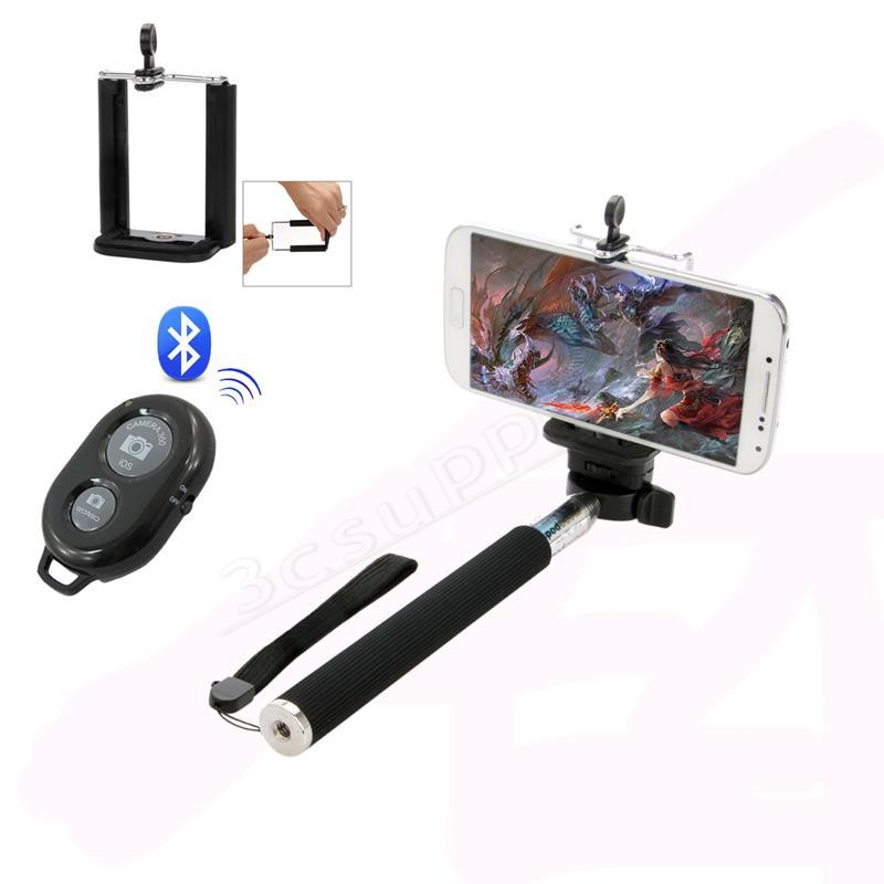 Wireless Shutter Retractable Monopod Clamp For Ios Iphone Android