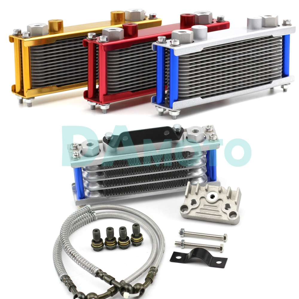 Universal Motorcycle Gold Oil Cooler Radiator CNC Plate cooling for 110CC 200CC