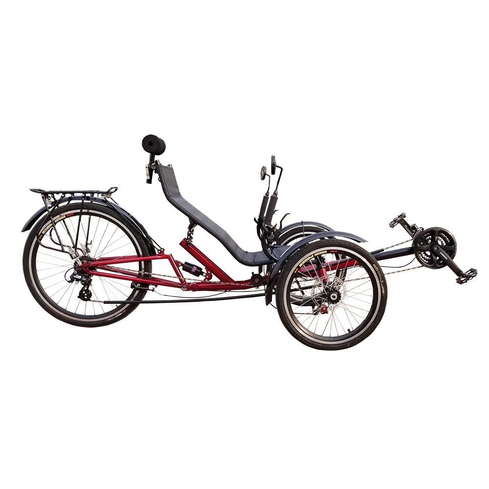 24 Speed Adult Foldable Tricycle Three Wheel Suspension Recumbent Trike