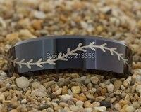 Cheap Price Free Shipping USA Hot Selling 8MM Black Beveled Baseball Stitch Lord Men's Fashion Tungsten Ring Wedding Band Ring