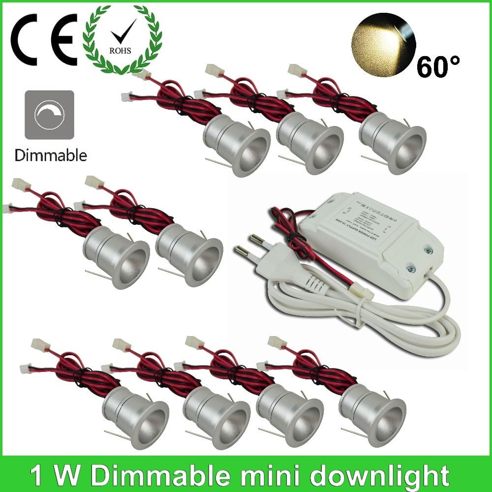 Vysoce kvalitní 9pcs / lot 1w AC85-265V Mini led světlo skříňky - LED Osvětlení