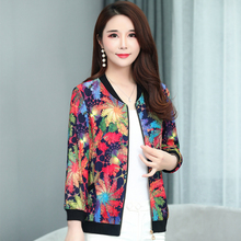 Brieuces Spring summer woman silk cloud jacket nine-point sleeve baseball uniform womens printed coat plus size S-5XL