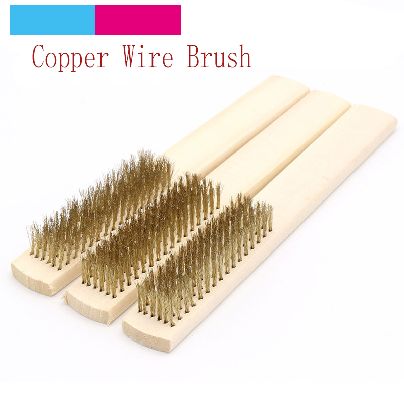 1pcs Wood Handle Brass Wire Copper Brush For Industrial Devices Surface/Inner Polishing Grinding Cleaning 6x16 Row Hand Tool