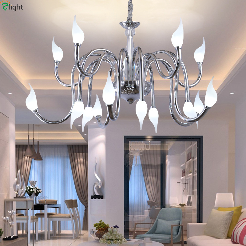 цена Modern Lustre Chrome Metal Led Chandeliers Lamparas Crystal Dining Room Led Pendant Chandelier Lighting Hanging Lights Fixtures