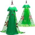 2016 Verano verde Trajes de Cosplay party Girls Vestido de Princesa elsa elsa Vestidos de Navidad