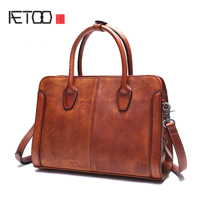 AETOO New original leather retro wild hand bag men and women leather briefcase large capacity shoulder diagonal package aetoo backpack female new retro shoulder bag hand large capacity leather bag simple wild