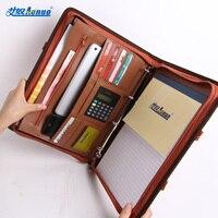 Comercial multifuncional bolsa com zíper bolsa de arquivo a4 pasta gerente notepad calculadora loose-leaf notebook 7623