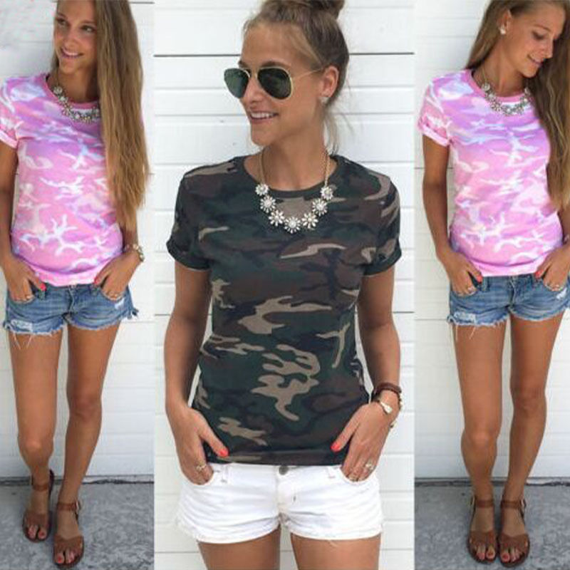 Fashion Womens Summer Casual Loose Top Short Sleeve Cotton T-Shirts Ladies Camouflage Clothes