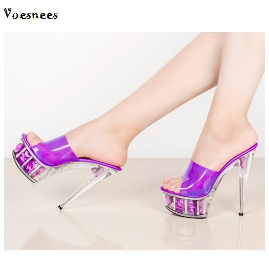 Steel Pipe Dance Shoes Rose Flower Sandals Women Summer Paragraph  Transparent 20 Color Crystal High-Heeled 15cm Waterproof Shoes 41ca224f2eb9