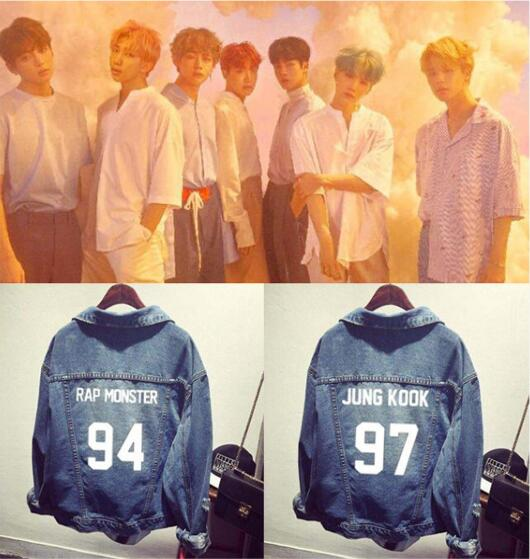 BF 2019 Kpop Love Yourself Denim Jean Stitching Jacket Coat Harajuku Bangtan Boy Jimin Suga Jungkook Clothes Fans Denim Wear