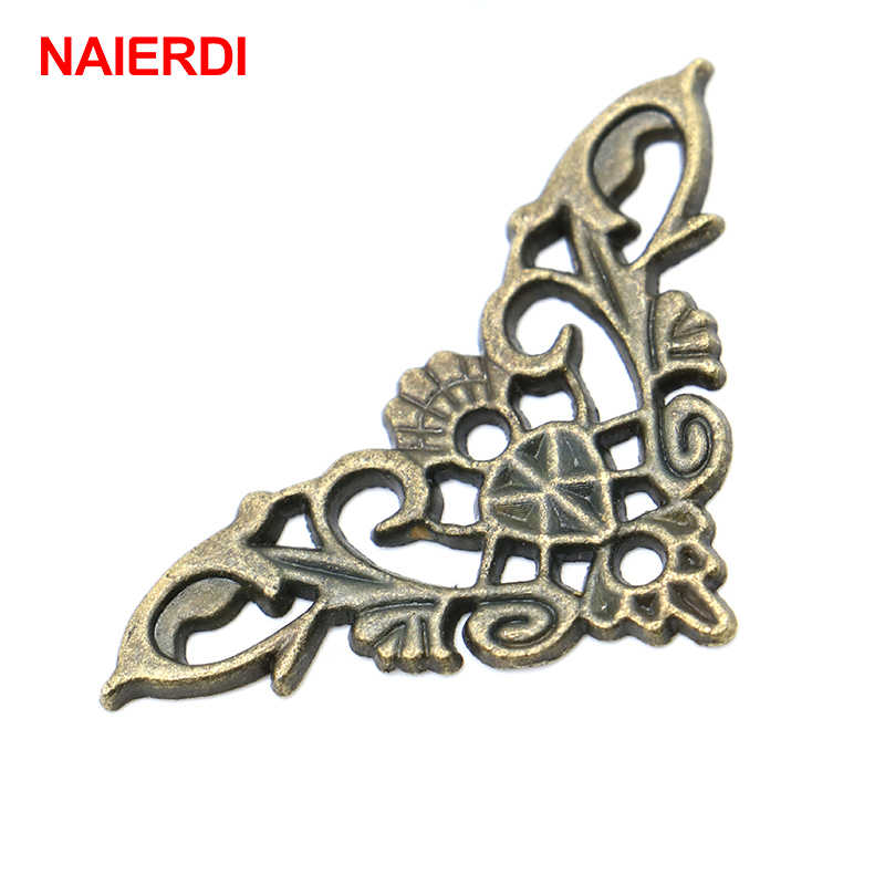 4PCS NAIERDI Bronze Jewelry Box Book Butterfly Corner Bracket Antique Frame Accessories Notebook Menus Decorative Protector 10pcs naierdi 30mmx30mm jewelry box book scrapbook album antique frame accessories notebook menus corner decorative protector