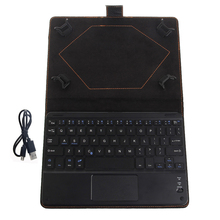OOTDTY Black Wireless Bluetooth Keyboard With Touchpad+PU Leather box for 8 to 8.9 Inch Tablet PC