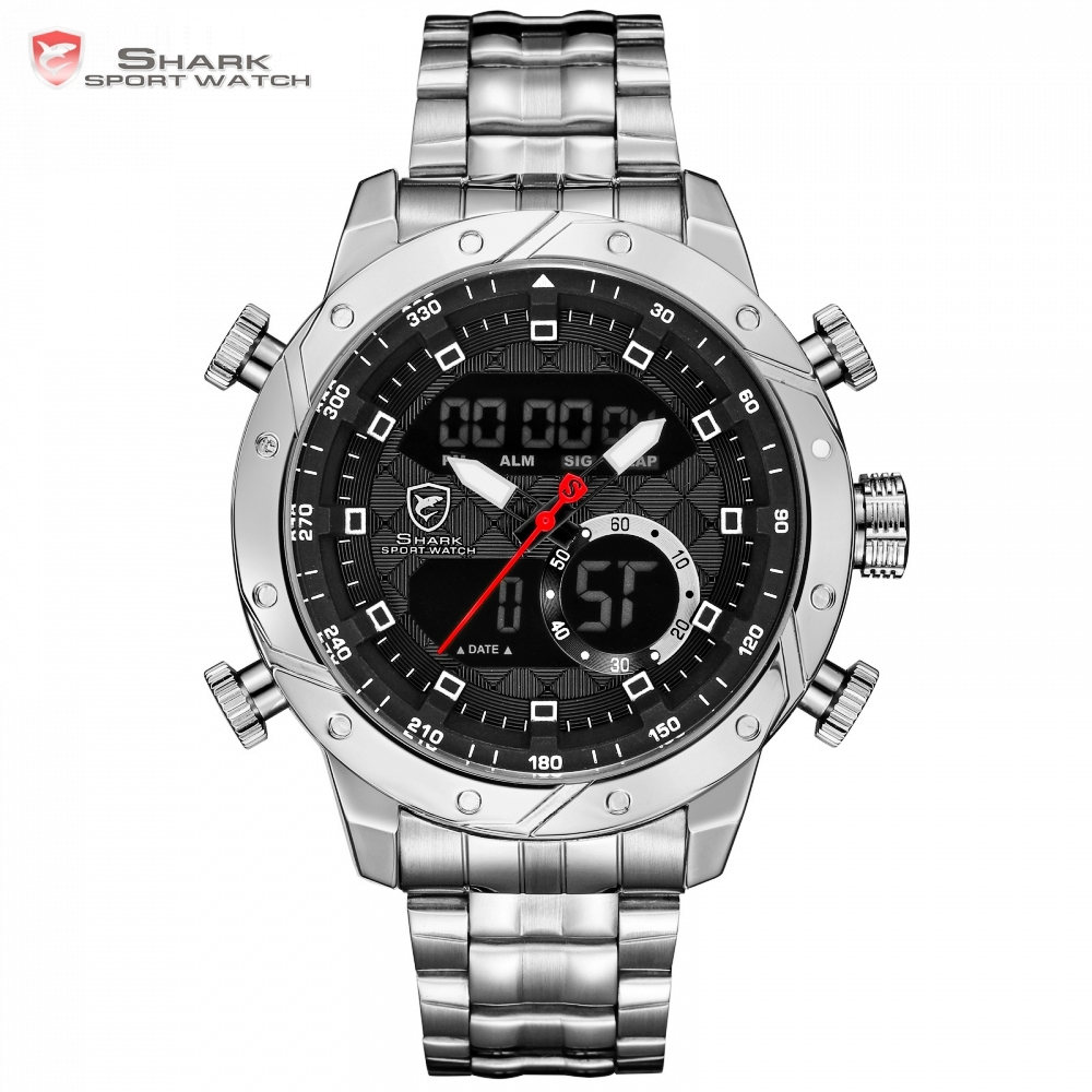 Snaggletooth SHARK Original Watch Male Sport Quartz Watch Chronograph Wristwatch Relogio Alarm Clock For Mens Stopwatches /SH590