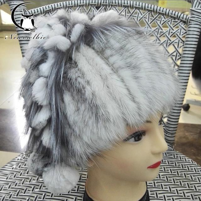 Venda quente chapéu de pele de vison real para as mulheres inverno malha mink cap gorros de pele com pele de raposa pom poms nova fêmea grossa cap