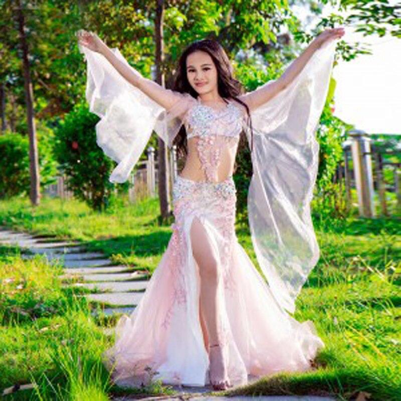 2019 Luxury High-Grade Customized Oriental Dance Costumes For Kids Children Top+Skirt Dancing Performance Wears Set For Girls