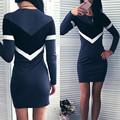 2017 primavera novas mulheres lápis bodycon mini dress ladies o long neck sleeve patchwork casual sexy dersses moda vestidos